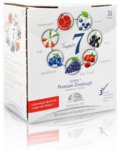 Super 7, 3Liter Saftbox, 100 % Direktsaft aus Acai, Aronia, Cranberry, Goji, Granatapfel, Heidelbeere, Trauben